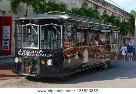 KEY WEST, FL, USA - JAN 1: Key West Ghosts & Gravestones Tour Bus on Jan 1st, 2015 in downtown Key West, Florida, USA.