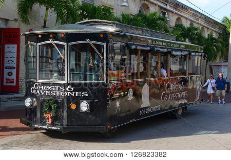 KEY WEST, FL, USA - JAN 1: Key West Ghosts & Gravestones Tour Bus on Jan 1st, 2015 in downtown Key West, Florida, USA.