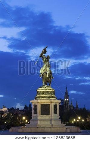 Heldenplatz with horse statue to Erzherzog Karl in Vienna in Austria