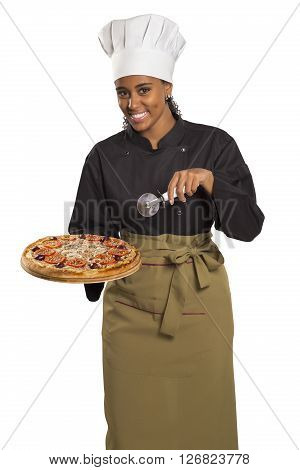 Chef Woman Giving Pizza.