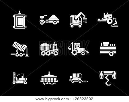 Agriculture industry. Machinery for farming. Combines, tractors, harvesters and other equipment. Collection of white glyph style vector icons on black. Elements for web design, business, mobile app.
