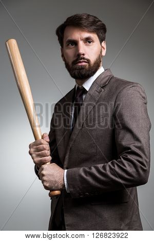 Man In Suit With Bat