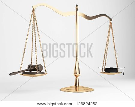 Golden justice scales with gavel and judge's hat on light background. 3D Rendering