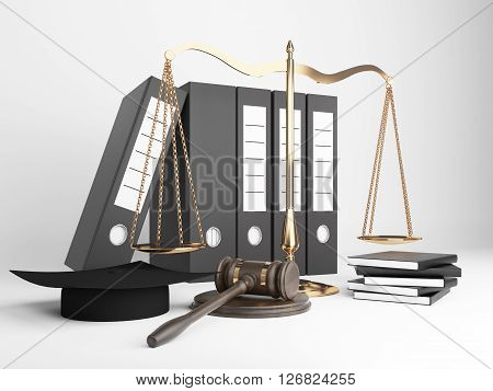 Golden scales of justice document folders judge's hat and gavel on light background. 3D Rendering