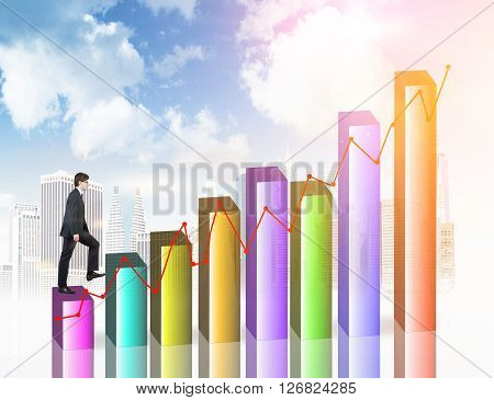 Financial growth concept with businesswan walking upwards on colorful chart bars with buildings and sky in the background