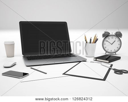 Frontview of white desktop with blank laptop screen alarm clock and various office tools. Mock up 3D Rendering