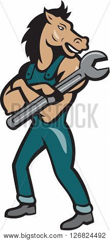 Illustration of a horse mechanic standing with arms crossed holding spanner looking to the side set on isolated white background done in cartoon style.