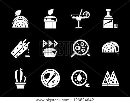 Hot spicy sauce, taco, nacho and burrito, pizza, tequila and others food of traditional mexican cuisine. Collection of white glyph vector icons on black. Elements for web design, business, mobile app.