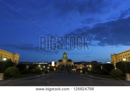 Maria-Theresien-Platz with Art History Museum and Natural History Museum in Vienna in Austria