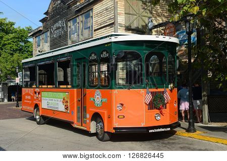 KEY WEST, FL, USA - JAN 1: Key West Old Town Trolley on Jan 1st, 2015 in downtown Key West, Florida, USA.