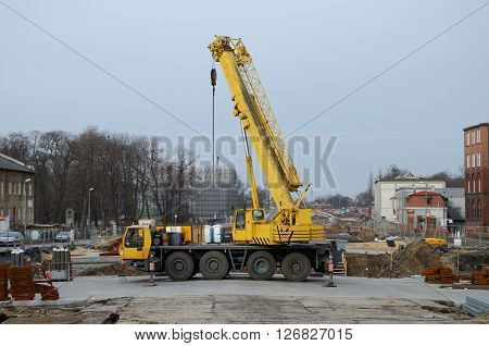 Construction site (road construction) in Gliwice, Poland