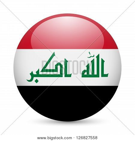 Flag of Iraq as round glossy icon. Button with Iraqi flag