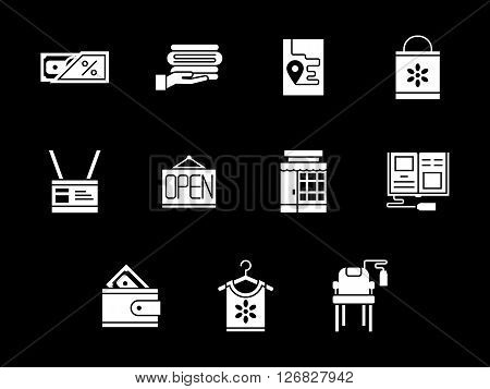 Online shopping and e-store elements. Commission shop. Collection of white glyph style vector icons on black. Elements for web design, business, mobile app.
