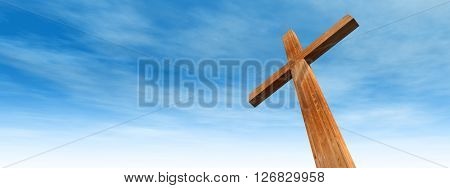 3D illustration concept or conceptual wood cross or religion symbol shape over a blue sky with clouds background banner