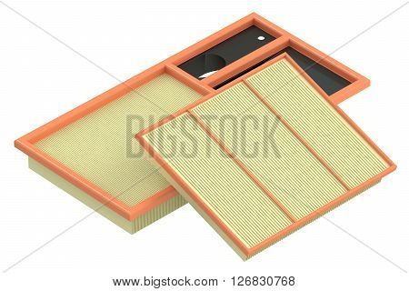 air filters for car 3D rendering isolated on white background