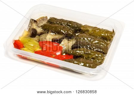 ready-to-eat stuffed grape leaves made with chopped lamb. Vacuum skin pack tray