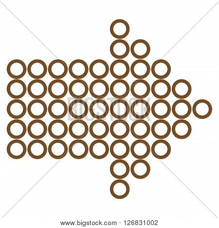 Dotted Arrow Right vector icon. Style is stroke icon symbol, brown color, white background.