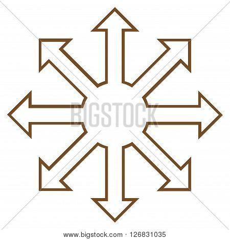 Enlarge Arrows vector icon. Style is outline icon symbol, brown color, white background.