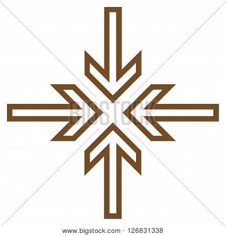 Implode Arrows vector icon. Style is thin line icon symbol, brown color, white background.