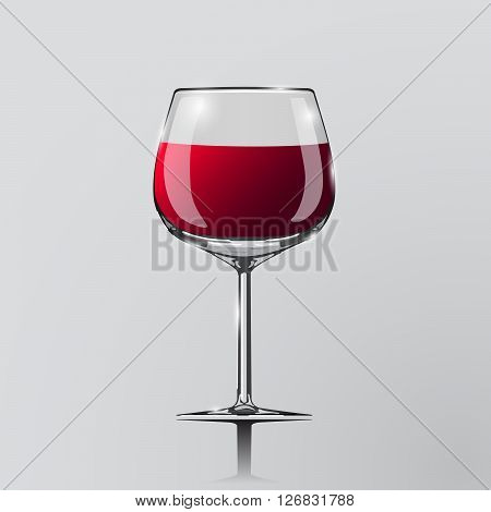 Realistic vector illustration of a wine glass. Wine glass. Clip art - wine glass. Element of desing. Red wine in glass.