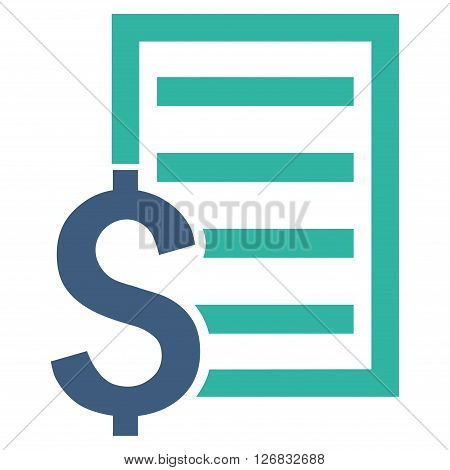 Contract vector icon. Style is bicolor flat symbol, cobalt and cyan colors, white background.