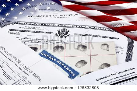 Citizenship Papers With American Flag