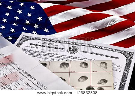 Immigration Documents With American Flag