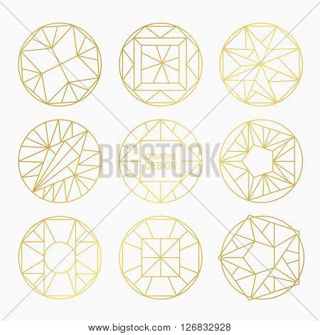 Set of hipster vector geometric shapes. Shapes made using line, triangles, circles, and other polygons.