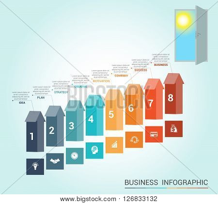Template Conceptual infographics arrows colored and doorway 8 positions