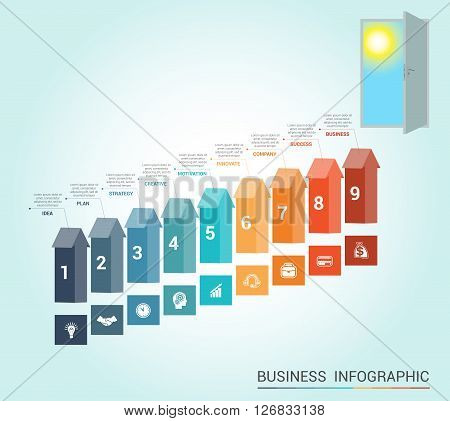 Template Conceptual infographics arrows colored and doorway 9 positions