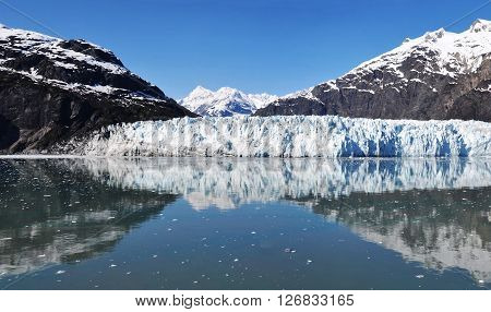 Panoramic view of Margerie glacier. Glacier Bay National Park and Preserve, Alaska, United States.