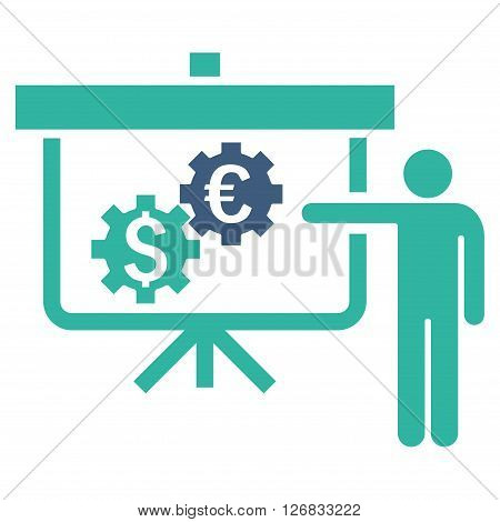 International Banking Project vector icon. Style is bicolor flat symbol, cobalt and cyan colors, white background.