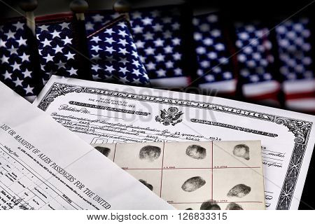 Immigration Documents With American Flags