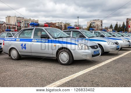 SAMARA RUSSIA - APRIL 20 2016: Russian patrol cars of the State Automobile Inspectorate on the Kuibyshev square in spring day
