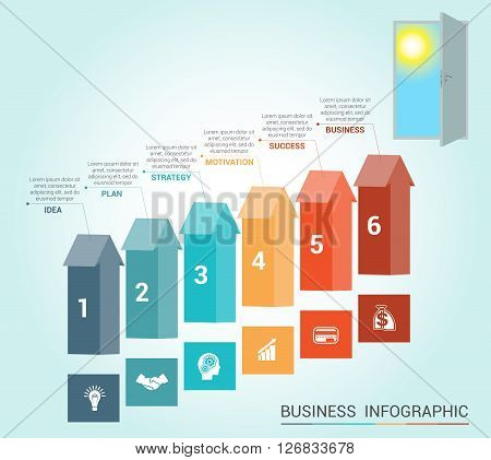 Template Conceptual infographics arrows colored and doorway 6 positions