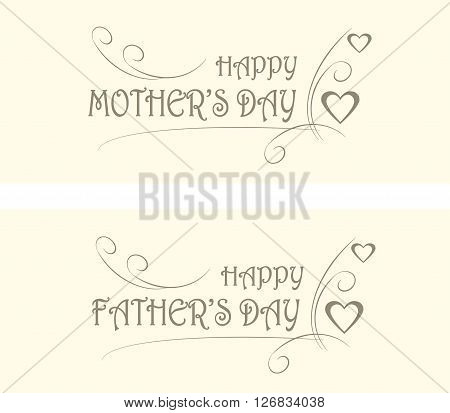 Typography banners Happy Mother' day, Happy Father's day. Grey letters on light pink background, decorated, hearts, vector