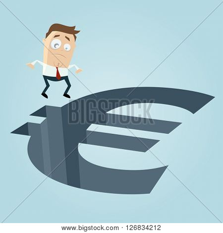 businessman standing in front of a big euro hole