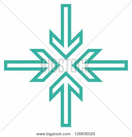 Implode Arrows vector icon. Style is thin line icon symbol, cyan color, white background.