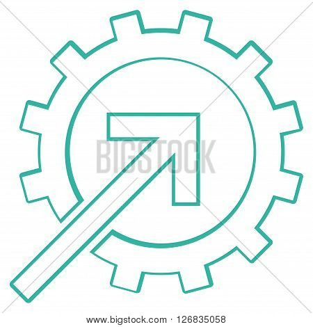 Integration Arrow vector icon. Style is stroke icon symbol, cyan color, white background.