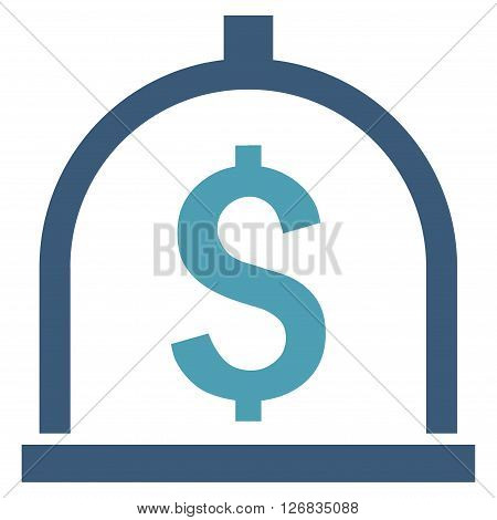 Dollar Deposit vector icon. Style is bicolor flat symbol, cyan and blue colors, white background.