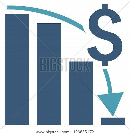 Financial Crisis vector icon. Style is bicolor flat symbol, cyan and blue colors, white background.