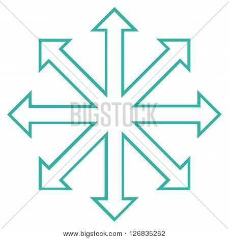 Maximize Arrows vector icon. Style is outline icon symbol, cyan color, white background.