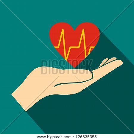 Hand holding red heart with ecg line icon in flat style on a blue background