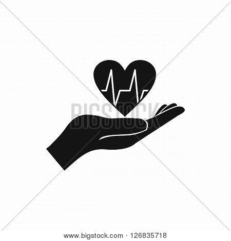 Hand holding heart with ecg line icon in simple style on a white background