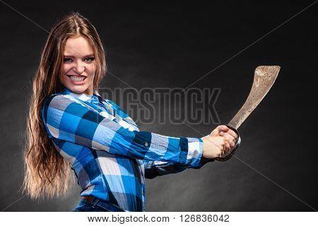 Pretty Strong Woman Holding Machete.