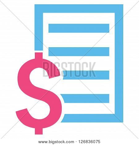 Contract vector icon. Style is bicolor flat symbol, pink and blue colors, white background.