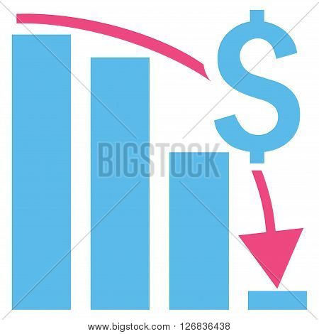 Financial Crisis vector icon. Style is bicolor flat symbol, pink and blue colors, white background.