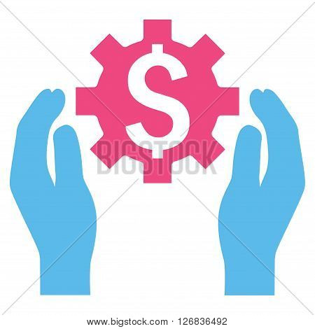 Financial Insurance Options vector icon. Style is bicolor flat symbol, pink and blue colors, white background.