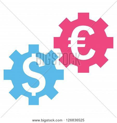 Financial Mechanics vector icon. Style is bicolor flat symbol, pink and blue colors, white background.