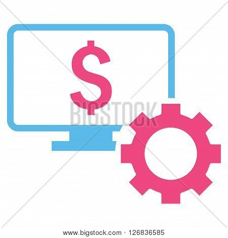 Financial Monitoring Options vector icon. Style is bicolor flat symbol, pink and blue colors, white background.